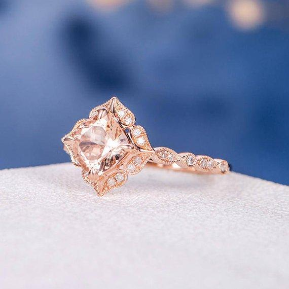 18k Art Deco Morganite Engagement Ring Rose Gold Morganite Ring Cushion Cut Flower Halo Antique Anniversary Unique Delicate Multistone Retro
