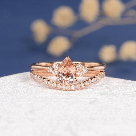 18k Pear Shaped Morganite Ring Rose Gold Bridal Set Engagement Ring Women Bridal Wedding Anniversary Custom Jewelry Gift Cluster Diamond 2pcs