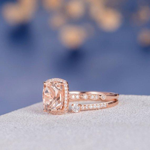 18k Art Deco Morganite Engagement Ring Cuff Custom Band Women Rose Gold Antique Promise Diamond Anniversary Cushion Cut Wedding Ring Set 2pcs