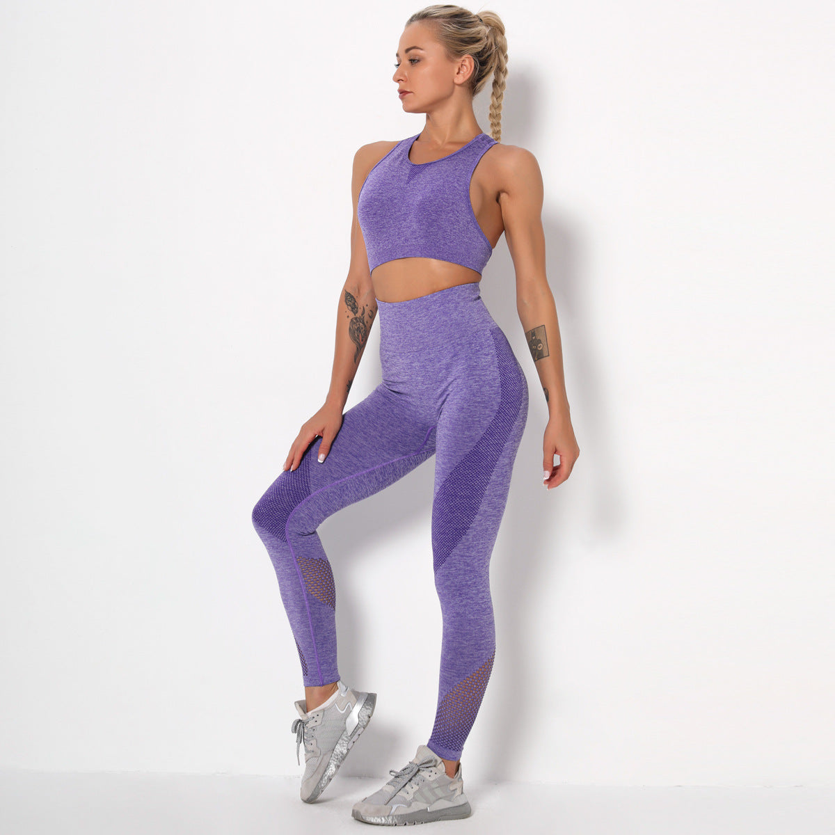 2020 Women Seamless Fast Drying Yoga Suit Sportswear Gym Suit High Waisted Leggings Activewear YS-021