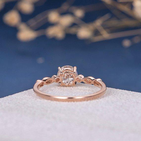 18K 6.5mm Moissanite Engagement Ring Art Deco Rose Gold Diamond Half Eternity Antique Solitaire Unique Retro Anniversary Promise Women Engraving
