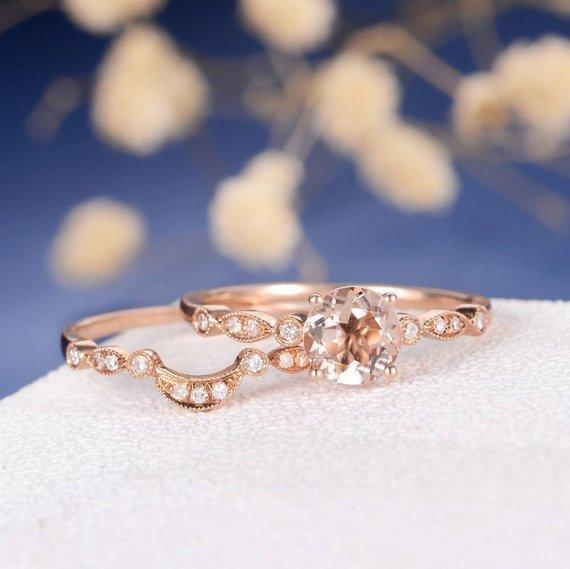 18k Engagement Ring Rose Gold Set Morganite Ring Bridal Diamond Art Deco Wedding Band Women Anniversary Stacking Antique Eternity Stacking 2pcs