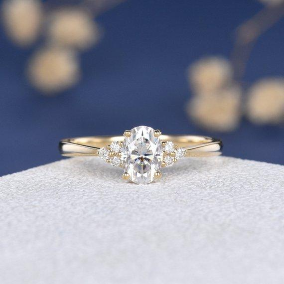 18K Moissanite Engagement Ring Rose Gold Unique Diamond Cluster Ring Women Bridal Antique Oval Cut Wedding Anniversary Her Gift Custom Personal