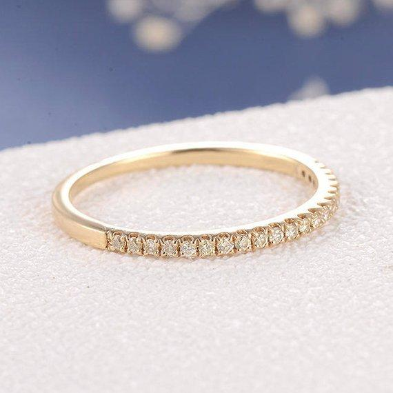 18K Simple Wedding Band Woman Yellow Diamond Ring Yellow Gold Minimalist Petite Stacking Thin Dainty Half Eternity Micro Pave Matching Ring Band