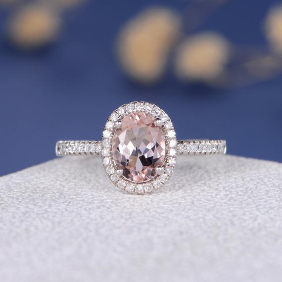 18K Gold Pink Morganite Engagement Ring White Gold Oval Cut Morganite Ring Halo Diamond Half Eternity Anniversary Solitaire Wedding