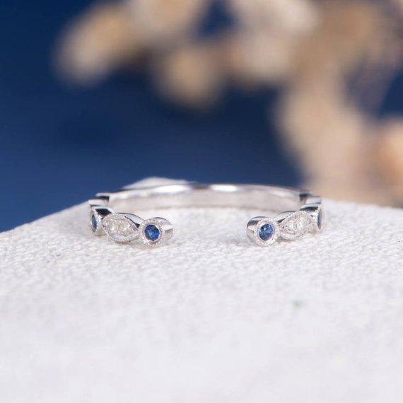18K Art Deco Sapphire Diamond Wedding Band Women Open Cuff Ring Bridal Antique White Gold Adjustable Stacking Birthstone Thin Anniversary Ring