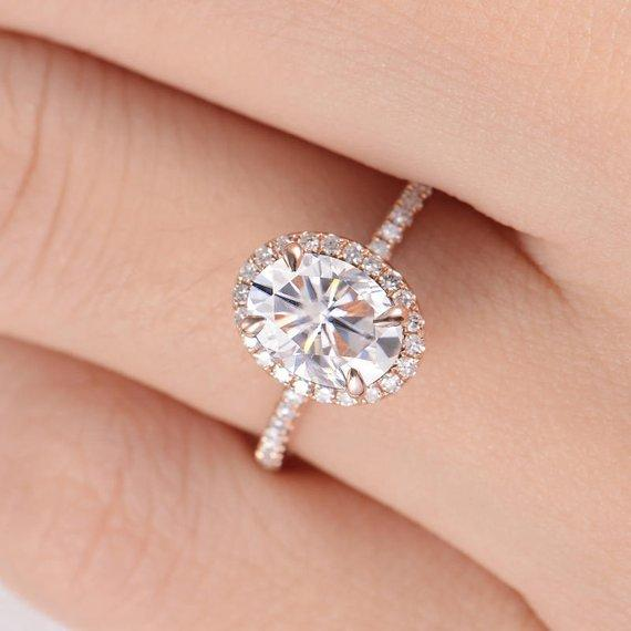 18K Gold Engagement Ring Oval Cut Moissanite Ring Diamond Halo Half Eternity Antique Claw Prong Bridal Wedding Stacking Antique Retro
