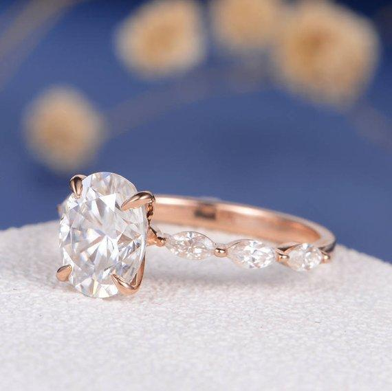 18K Gold Engagement Ring Rose Gold Oval Cut Moissanite Marquise Eternity Band Wedding Bridal Ring Unique Antique Promise Anniversary Gift Women Ring