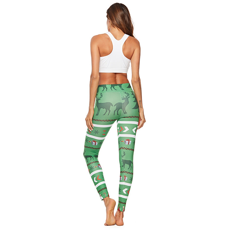 Women Christmas Digital Printed Sports Yoga Leggings Yoga Pants YP-003