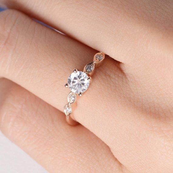 18K Gold Moissanite Engagement Ring Rose Gold Art Deco Wedding Ring Diamond Women Antique Bridal Marquise Anniversary Half Eternity Engraving