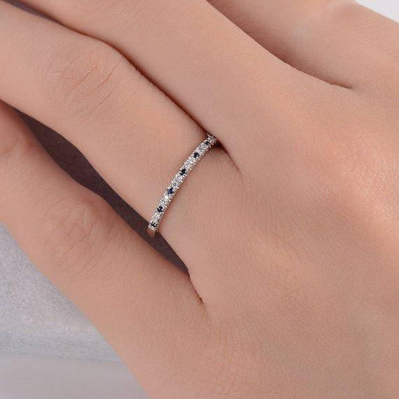 18K Stacking Wedding Band Blue Sapphire Diamond Minimalist Band Thin Multistone Wedding Ring September Birthstone Half Eternity Band Minimalist
