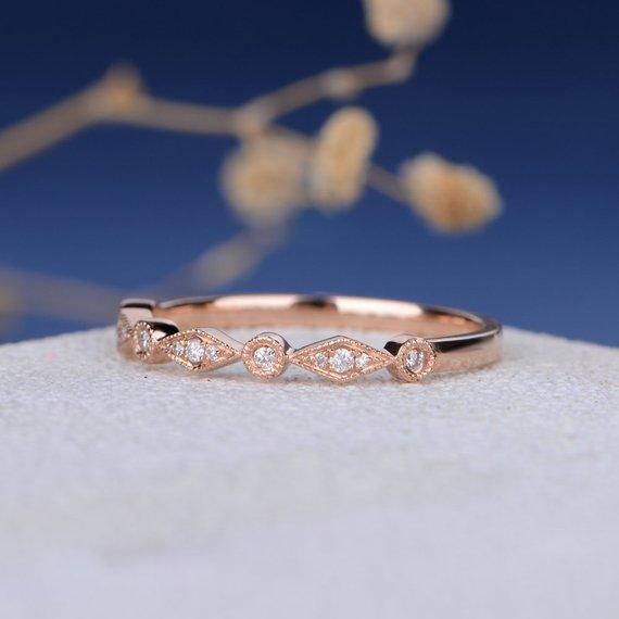 18K Unique Stacking Wedding Band Women Art Deco Rose Gold Band Conflict Free Diamond Half Eternity Band Milgrain Antique Dainty Promise Gift