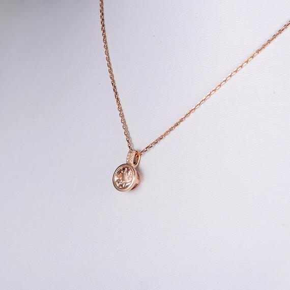 18K Rose Gold Necklace Morganite Pendant Peachy 8mm Morganite Diamond Bezel Set Minimalist Anniversary Mothers Day Birthday Gift For Mum Antique