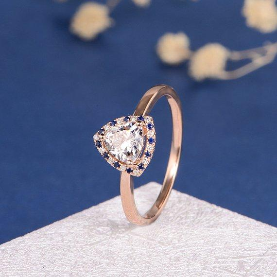 18K Unique Triangle Moissanite Ring Moissanite Engagement Ring Rose Gold Trillion Cut Moissanite Sapphire Diamond Halo Egyptian Style Queen