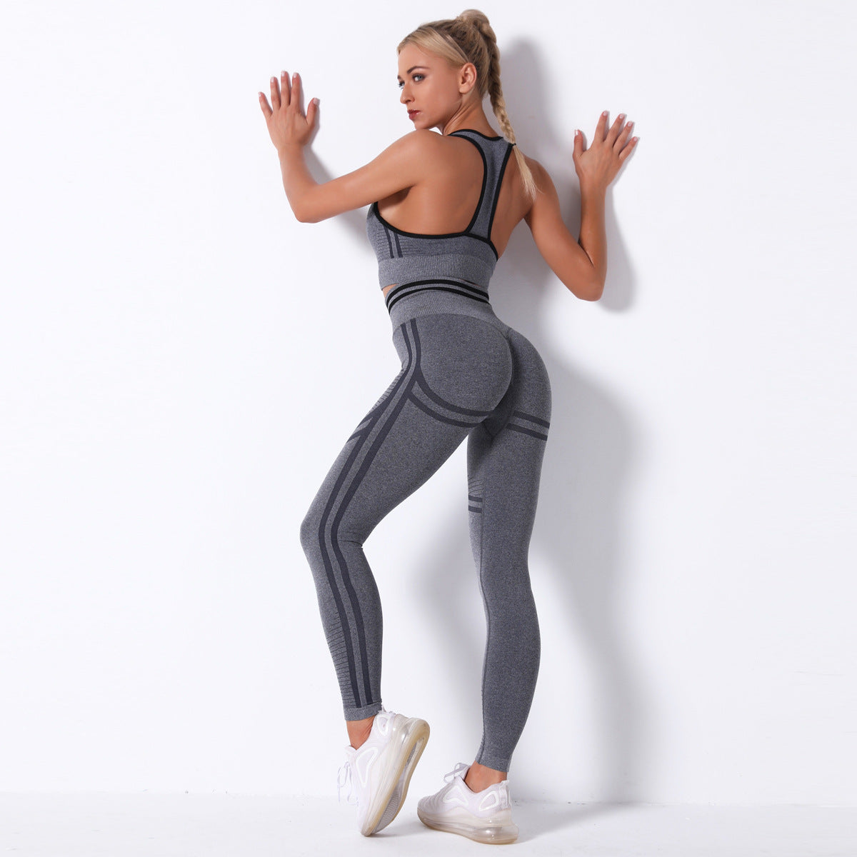 2020 Women Seamless Sexy Striped Hip Lift Yoga Suit Yoga Bra Fitness Suit Running Suit YS-043