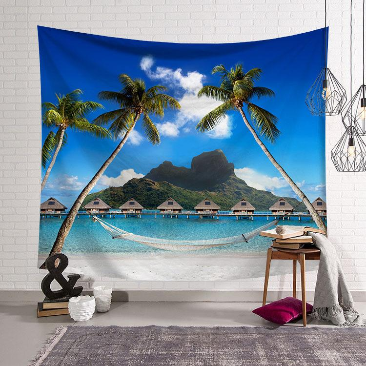 Coconut Tree Tapestry Wall Hanging Cloth Sea Tapestry Room Decoration Tapestry