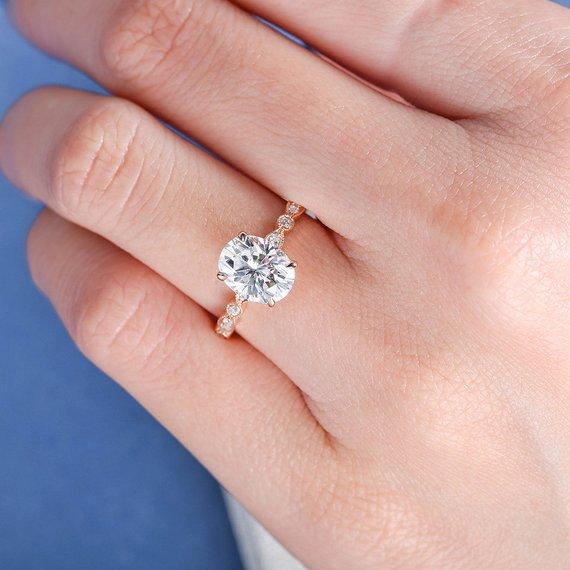 18K 2ct Moissanite Ring Art Deco Oval Cut Moissanite Engagement Ring Rose Gold 7x9mm Antique Solitaire Unique Anniversary Promise Women Diamond