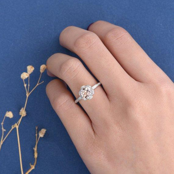 18k Morganite Engagement Ring Rose Gold Vintage Wedding Women Unique Antique Art Deco Flower Anniversary Gift Her Floral Diamond Bridal Jewelry