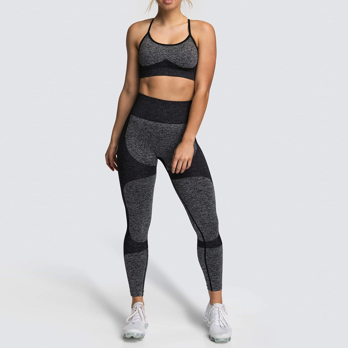 2020 Women Seamless Yoga Vest Suit High Waisted Sport Leggings Activewear Running Wear Training Suit YS-013