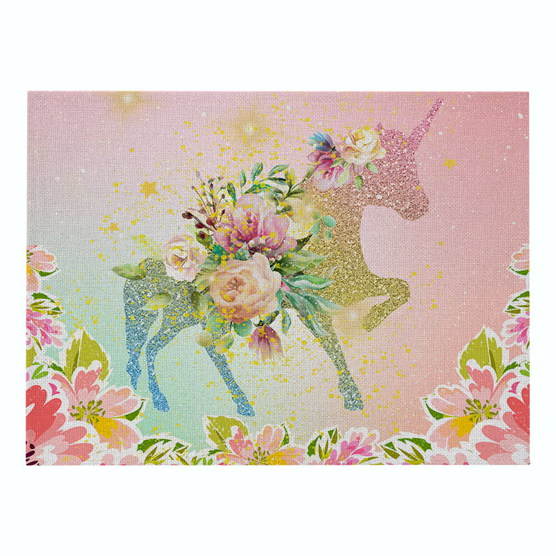 Customized Cartoon Unicorn Placemat Cotton & Linen Placemat Thermal Insulation Non-slip Placemat