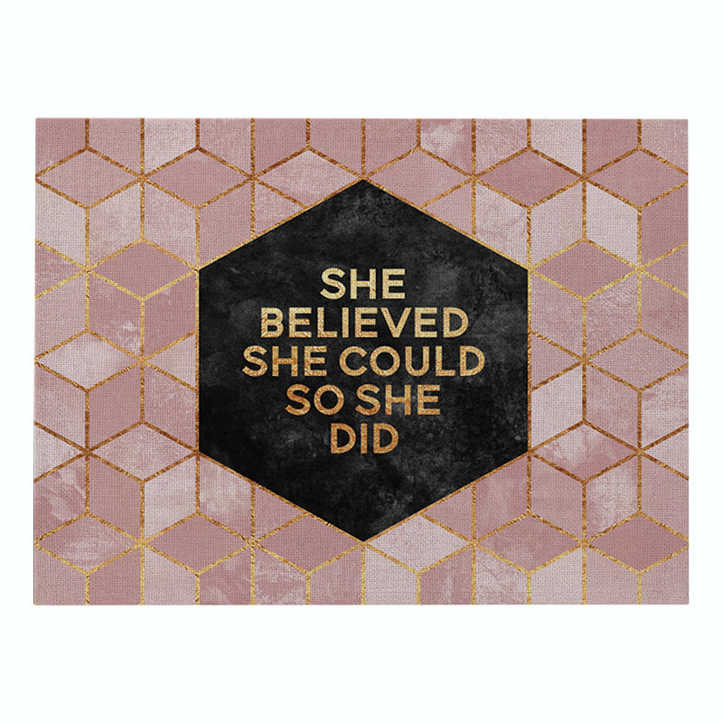 Customized Pink Gold Geometric Printing Cotton & Linen Placemats Non-slip Insulation Table Mats