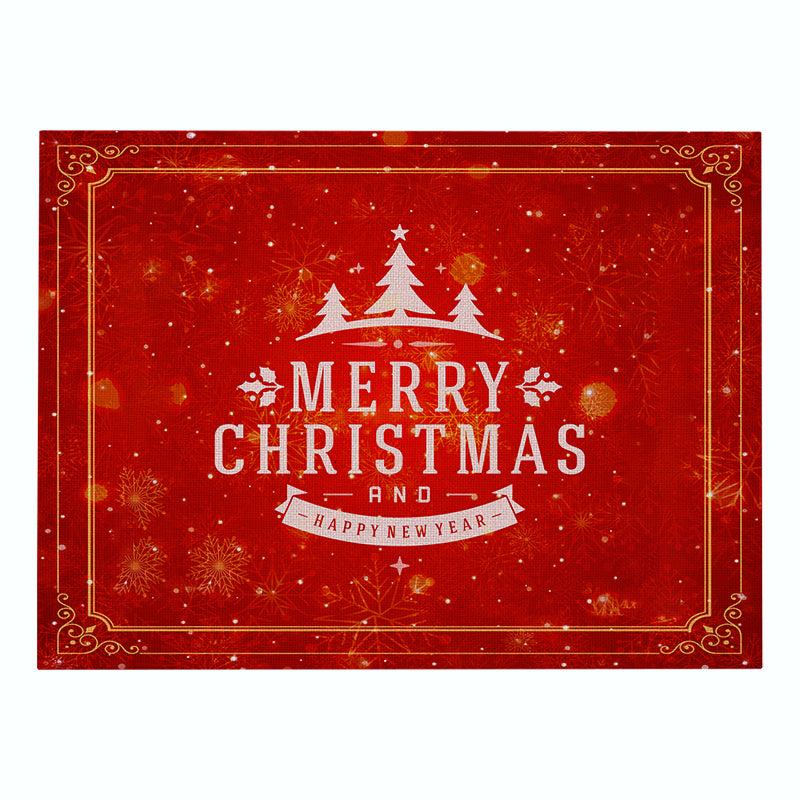 Customized Christmas Cotton & Linen Placemat Red Series Table Mat