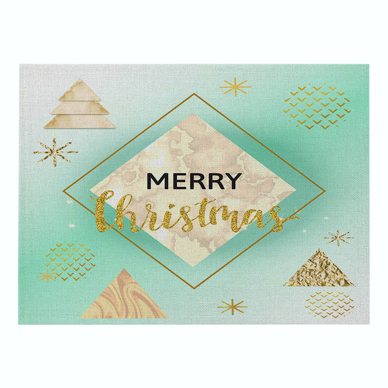 Customized Blue Series Christmas Cotton and Linen Table Mats Home Fabric Western Placemats Rectangular Placemats