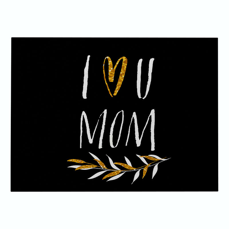 Customized Mother's Day Cotton & Linen Placemat Nordic Cartoon Love Series Non-slip Heat Pad