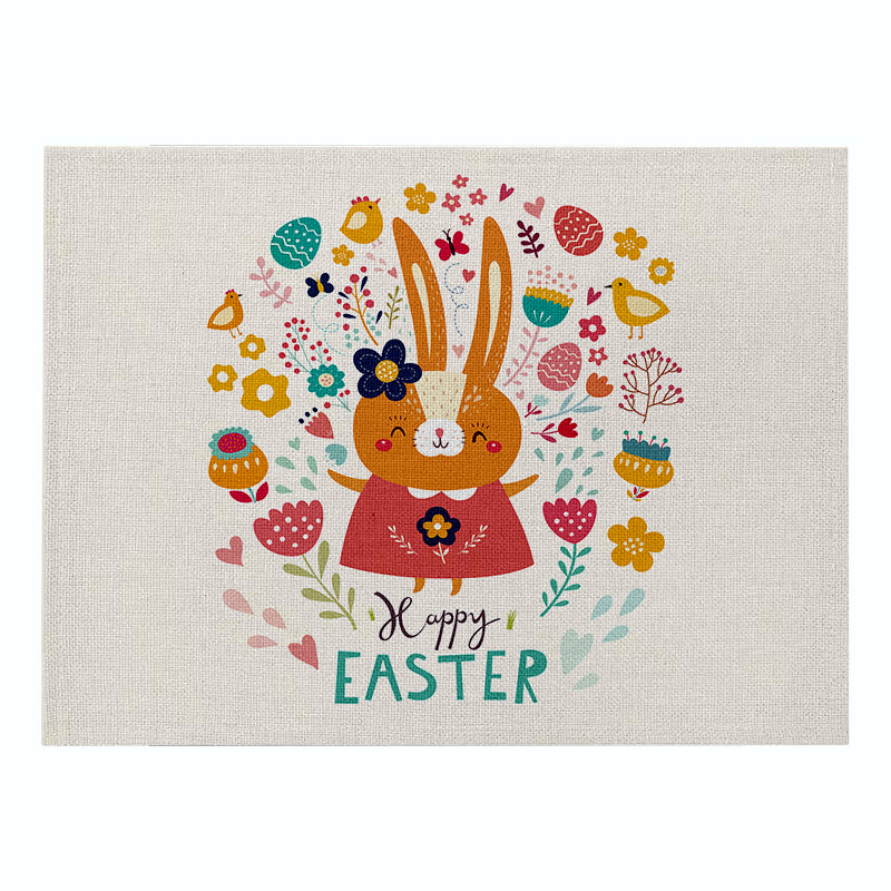 Customized Nordic Easter Placemat Cartoon Bunny Insulation Coaster