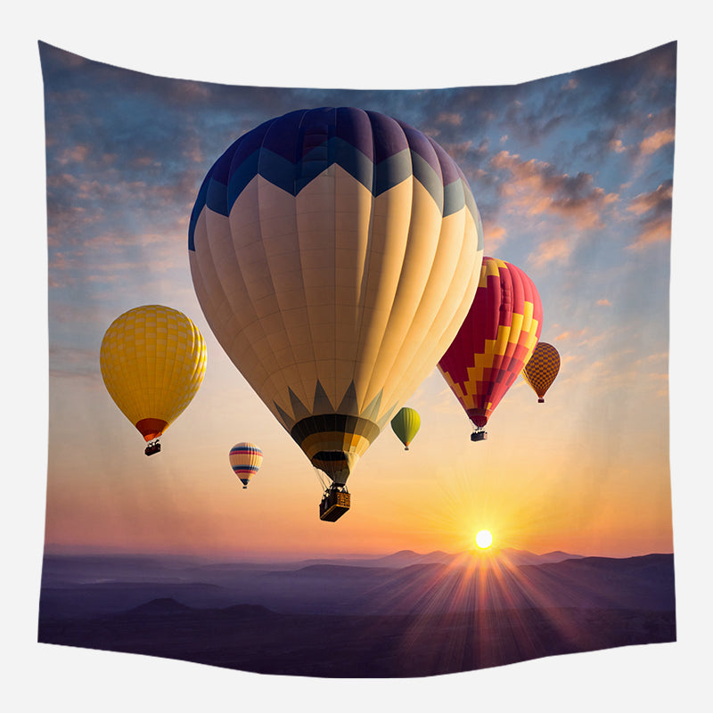 Hot Air Balloon Tapestry Sunset Tapestry Bohemian Hanging Cloth Room Decoration Tapestry