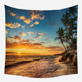 Sunset Tapestry Bohemian Hanging Cloth Coconut Tree Tapestry Room Decoration Tapestry