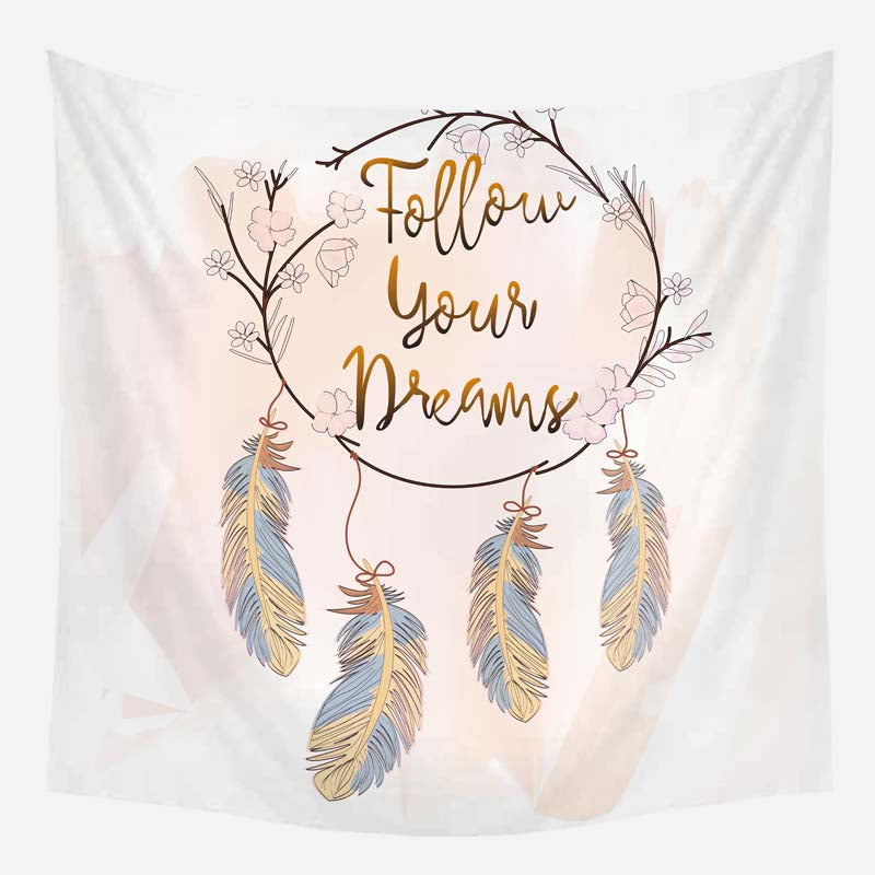 Customized Dream Catcher Feather Tapestry Background Hanging Cloth