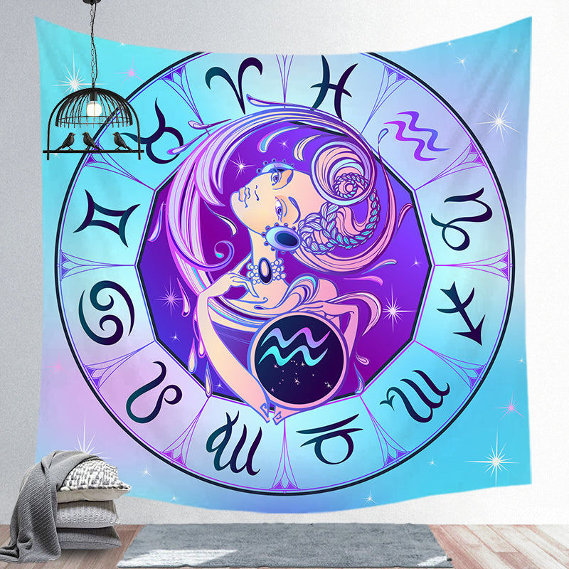 Aquarius Tapestry Twelve Constellation Tapestry Decoration Tapestry Wall Background Hanging Cloth Wall Backdrop