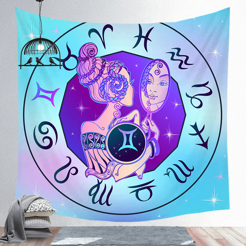 Gemini Tapestry Twelve Constellation Tapestry Decoration Tapestry Wall Background Hanging Cloth Wall Backdrop