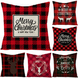 Customized Simple Style Red Plaid Christmas Linen Pillowcase Home Sofa Pillowcase Cushion Pillowcase