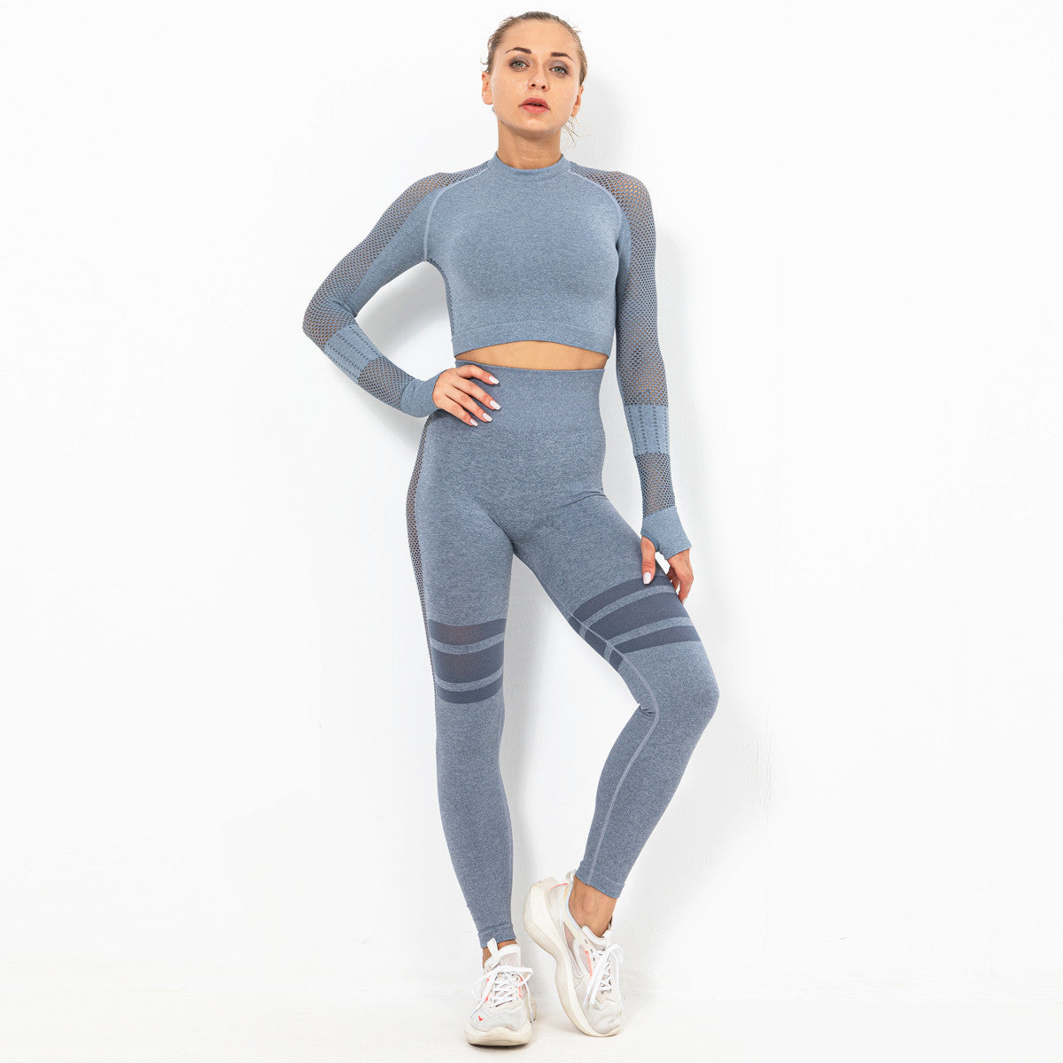Women Yoga Set Workout Sportswear Gym Clothing Fitness Long Sleeve High Waist Leggings Sports Suits YS-001