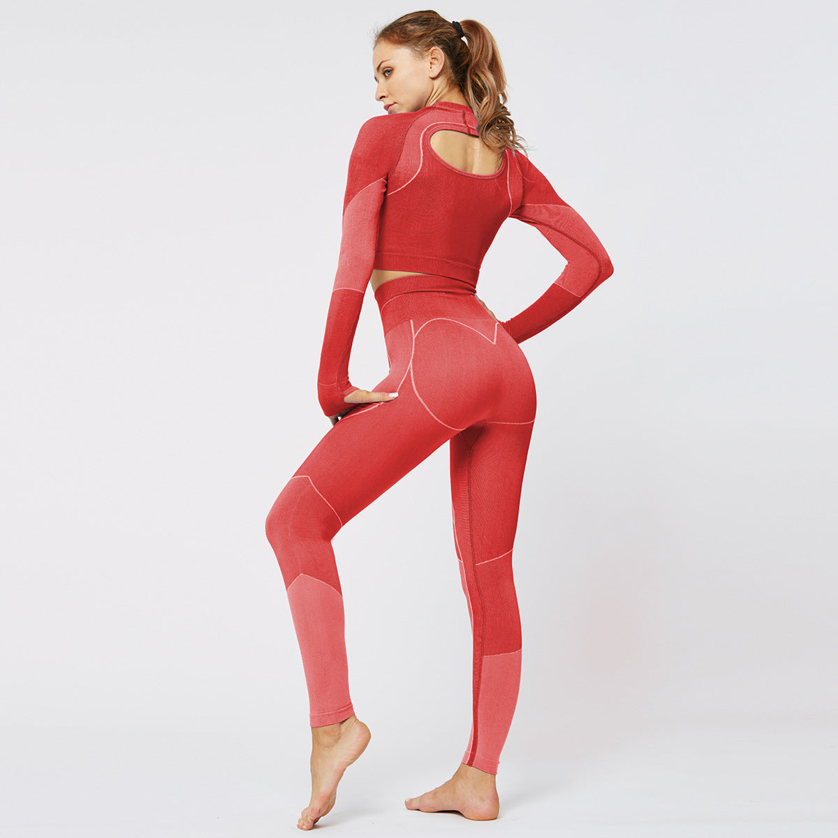 2020 Women Yoga Suit Long Sleeve Seamless Hip Lift High Waisted Leggings Activewear Sportswear YS-008