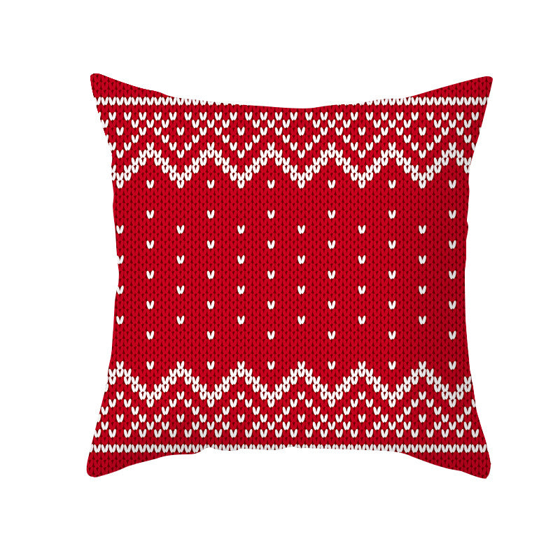 Cartoon Christmas Pillowcase Nordic Red & Green Letter Peach Skin Pillowcase Office Cushion Cover TPR310