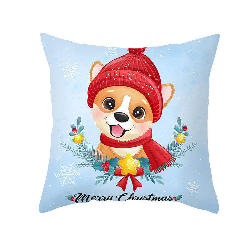 Cartoon Watercolor Christmas Pillowcase Custom Cute Christmas Snowman Sofa Cushion Pillowcase TPR332