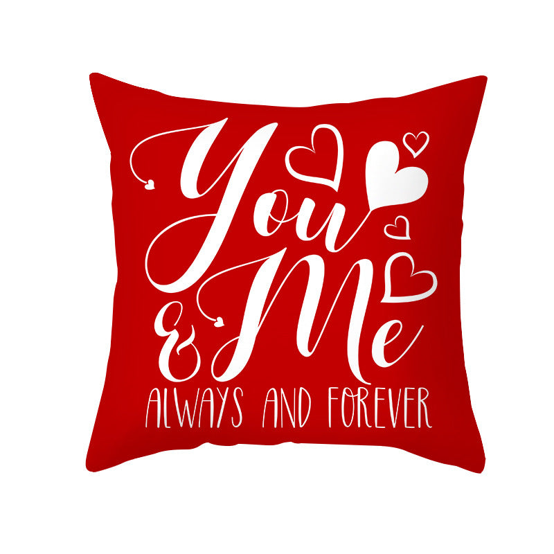 Wholesale Custom Valentine's Day Pillowcases Nordic Red Love Letters Pillowcase TPR359