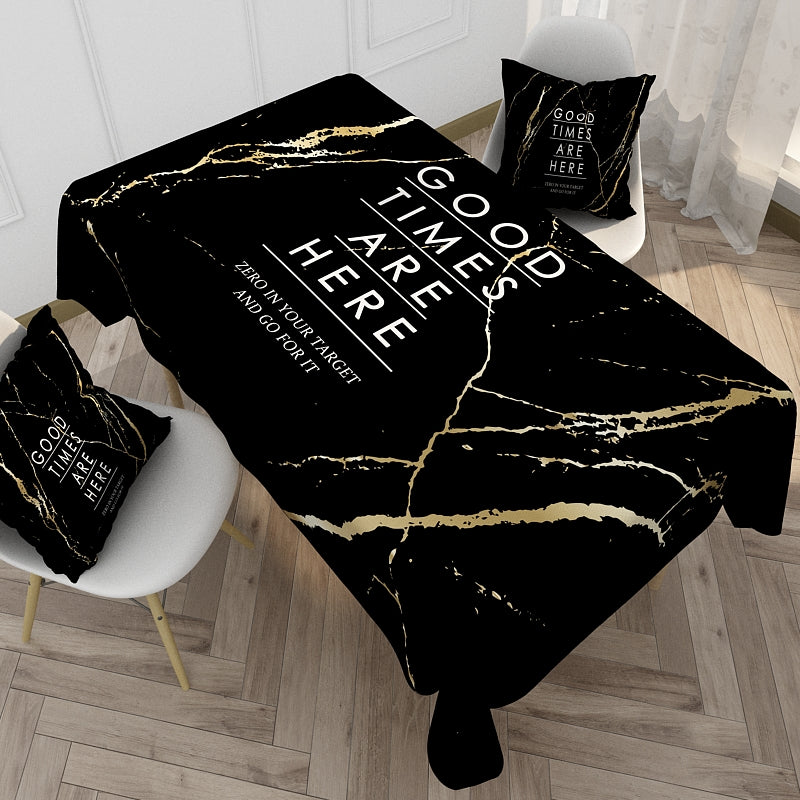 Customized Cotton & Linen Tablecloth Nordic Simple Tablecloth Black & White Letter Rectangular Coffee Tablecloth