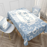 Customized Christmas Cotton & Linen Tablecloth INS Style Nordic Blue Elk Letter Tablecloth Coffee Tablecloth