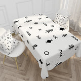 Customized Nordic Cotton & Linen Tablecloth Simple Black & White Checkered Tablecloth
