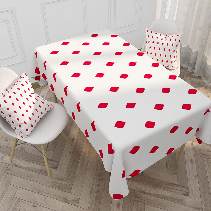 Customized Nordic Red & Blue Plaid Stripes Series Cotton & Linen Tablecloth