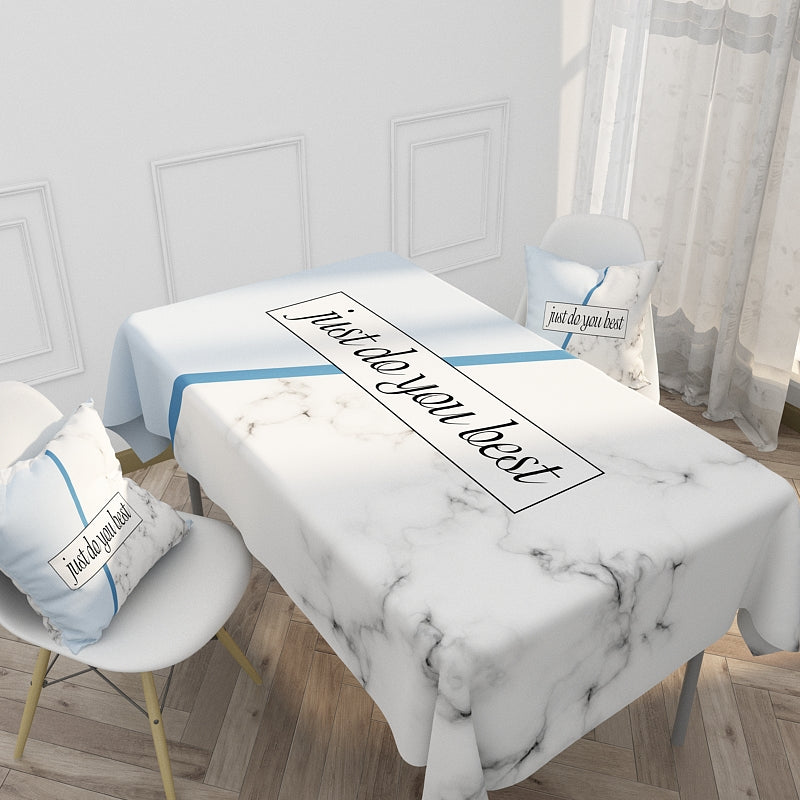 Customized Nordic Simple Geometric Letters Cotton & Linen Tablecloth