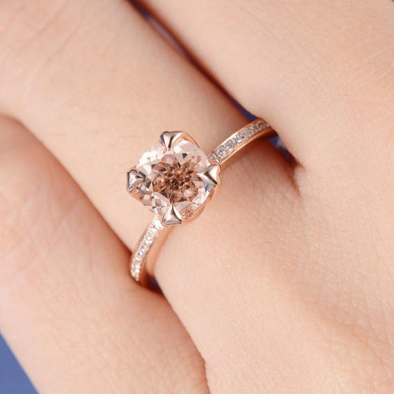 18K Gold Round Cut Unique Morganite Engagement Ring