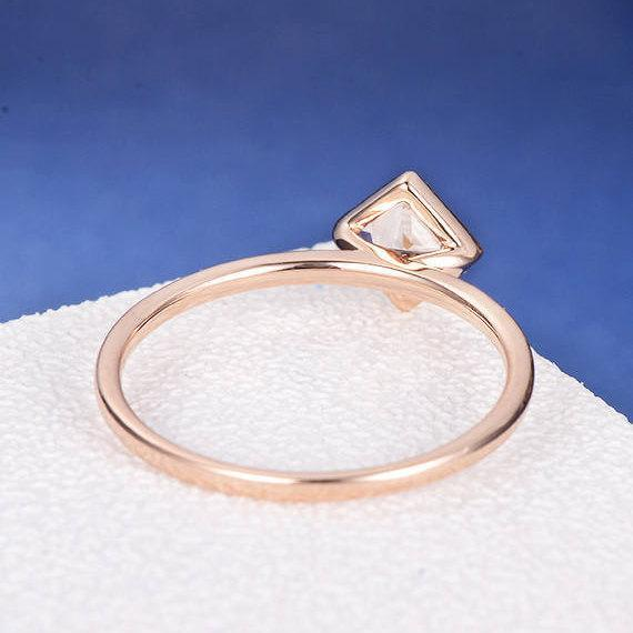 18K Gold Princess Cut Morganite Engagement Stacking Ring Bezel Set