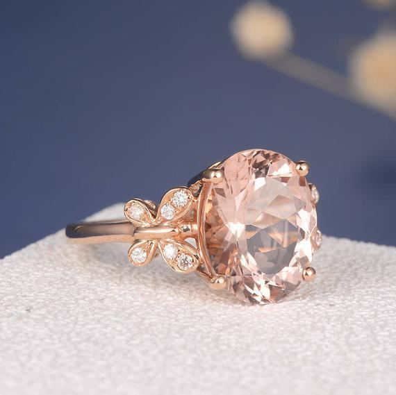 18K Gold Oval Cut Unique Butterfly Delicate Morganite Engagement Ring