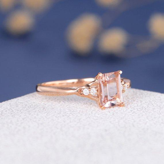 18k Gold Emerald Cut 5x7mm Engagement Morganite Ring