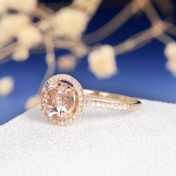 18K Gold Halo Morganite Engagement Ring